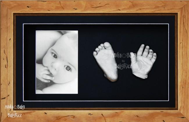 Large or Twins Baby Hand Foot Casting Kit / Rustic Pine Frame / Silver