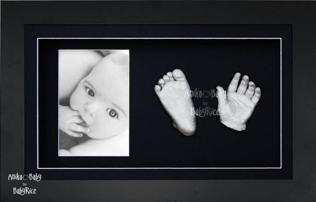 Twin Babies, Older Baby Child Silver 3D Baby Casting Kit, Black Frame