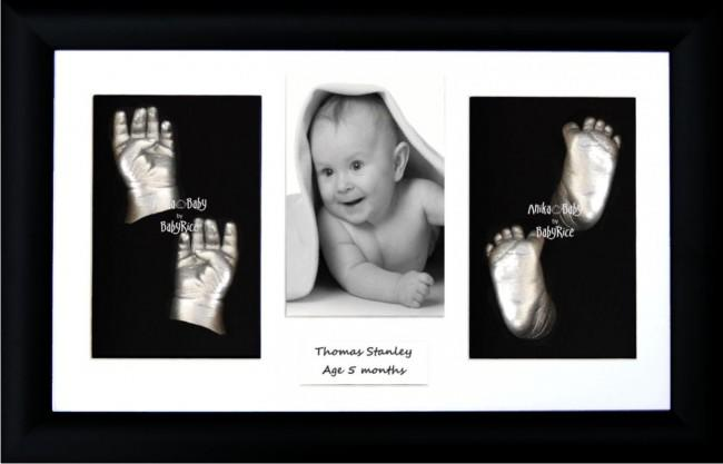 Twin Babies, Older Baby Child 3D Baby Casting Kit, Black Frame, Silver