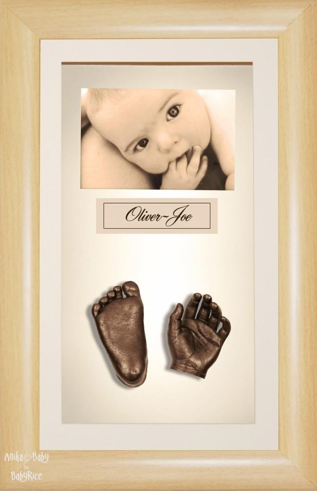 Large or Twins Baby Casting Kit / Beech Effect Frame / Bronze Casts