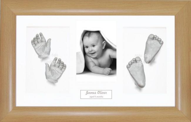 3D Baby Hand Foot Cast Kit, Silver Casting, Large Beech effect Frame