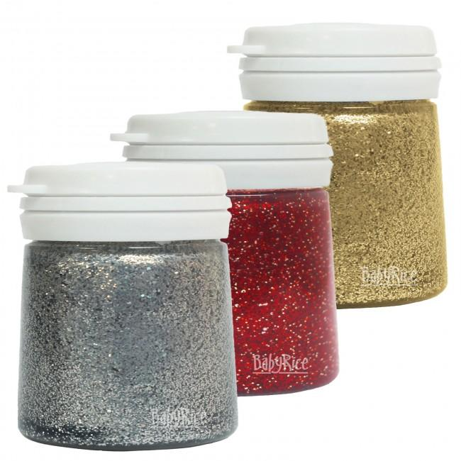 BabyRice Craft Paint Selection - Red, Silver and Gold Glitter
