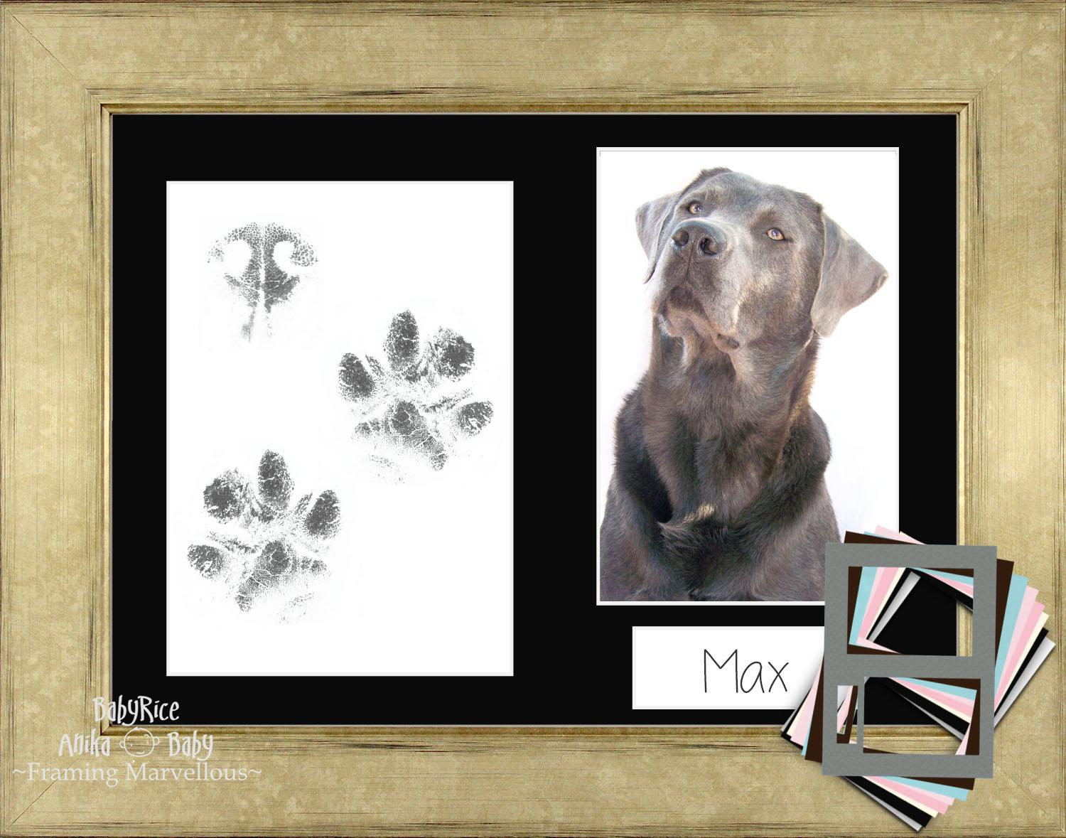 Dog PawPrints Kit with Champagne Frame