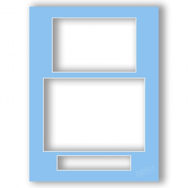 Three Aperture Picture Frame Mount 12x9 Inches (Portrait) - Duchess Blue