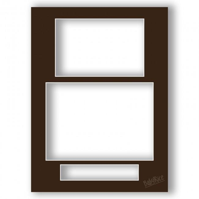 Three Aperture Picture Frame Mount & Backing Card 12x9 Inches (Portrait) – Chestnut Brown