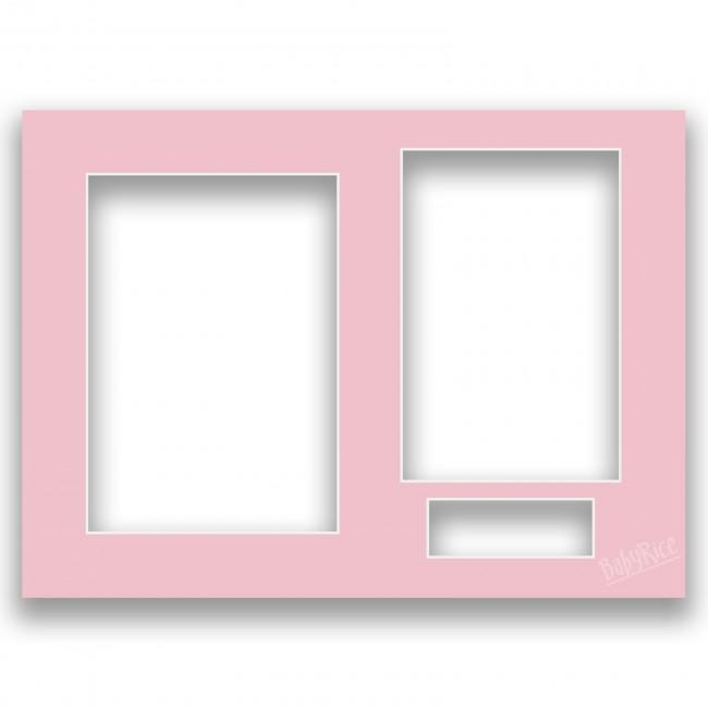 Three Aperture Picture Frame Mount 12x9 Inches - Pink Peony Rose