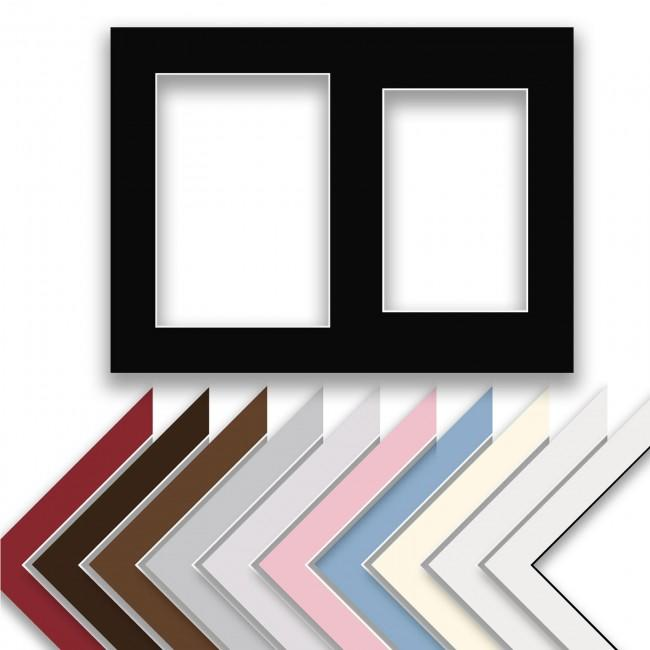 "12x9"" Two Aperture Picture Frame Mount & Backing Card"