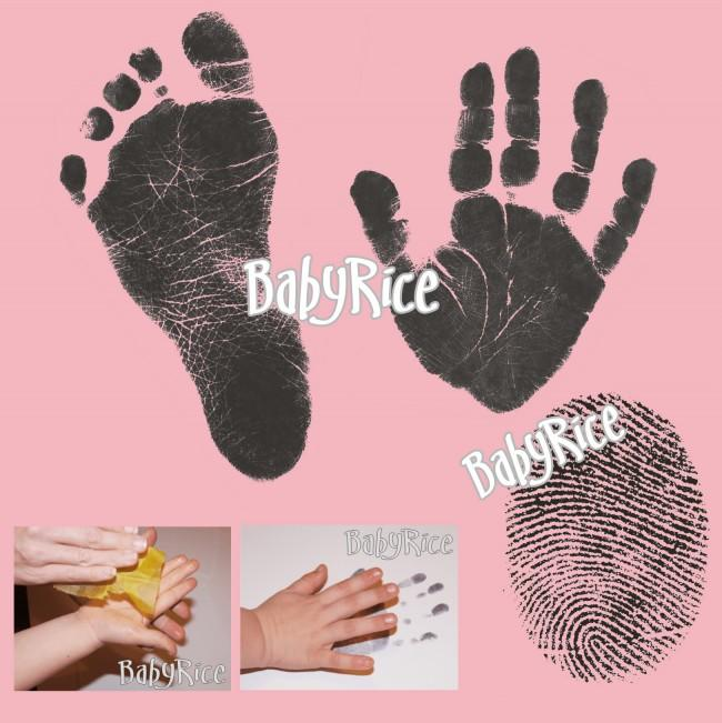 Value Baby Handprints Footprints Kit Black Inkless Wipes - Pink Card