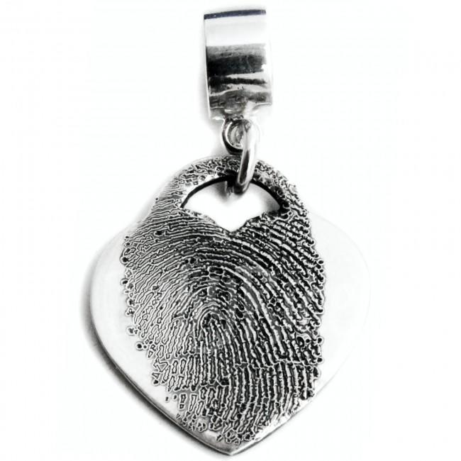 Silver Fingerprint Jewellery Personalised Handprint Footprint on Drop Charm Bead