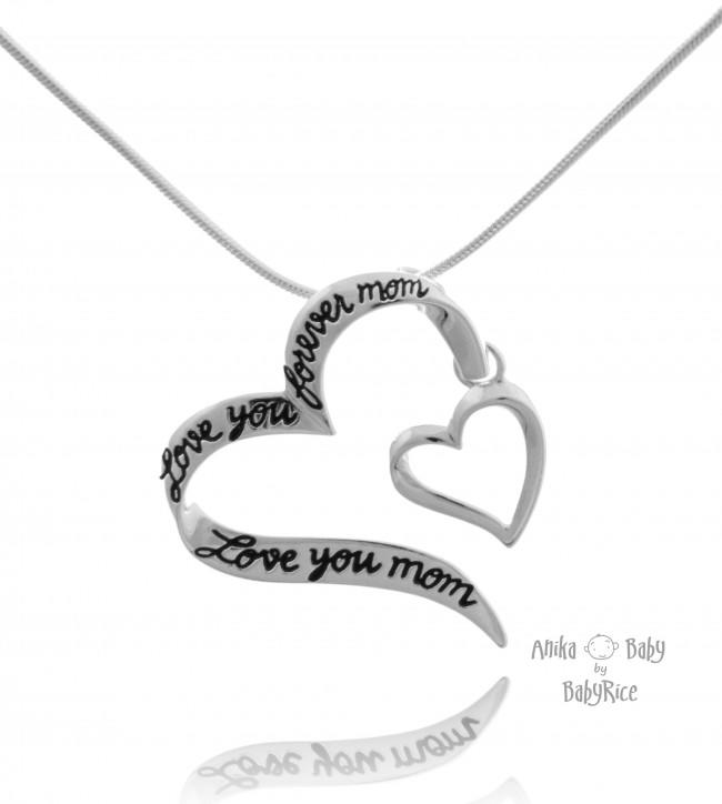 Sterling Silver Two Hearts Pendant with Engraved Message - Choose Chain