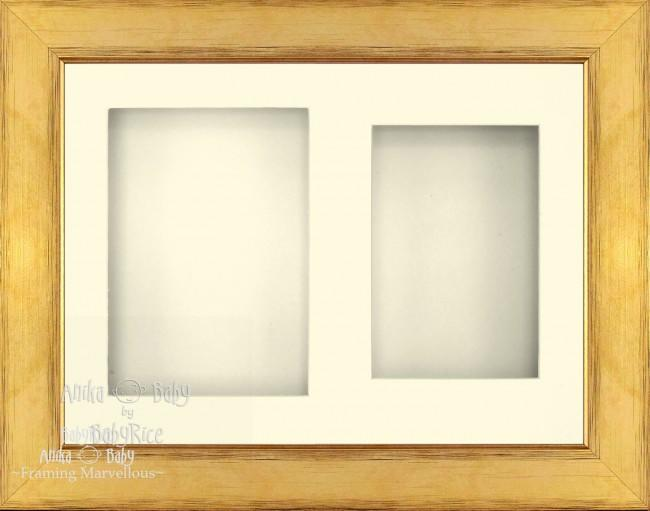 "11.5x8.5"" Gold 3D Deep Box Frame Cream Mount - BabyRice"