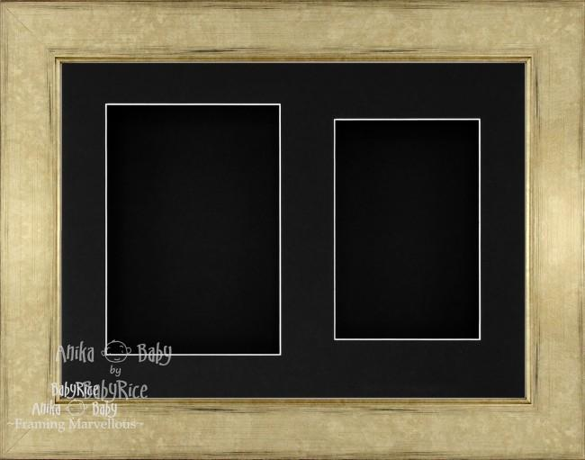 "11.5x8.5"" Champagne 3D Deep Box Frame Black 2 Mount"