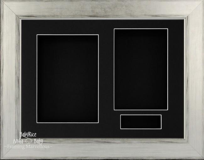 Silver Black 3D Shadow Box Picture Display Frame 3 Hole Mount