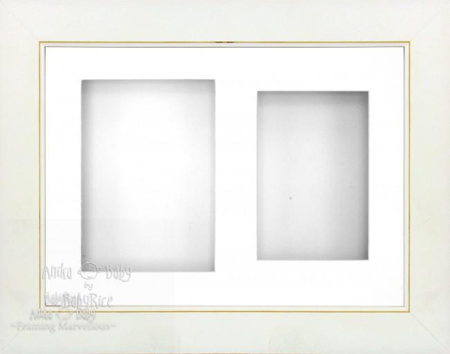 "11.5x8.5"" White Wash 3D Deep Shadow Box Frame White 2 Mount"