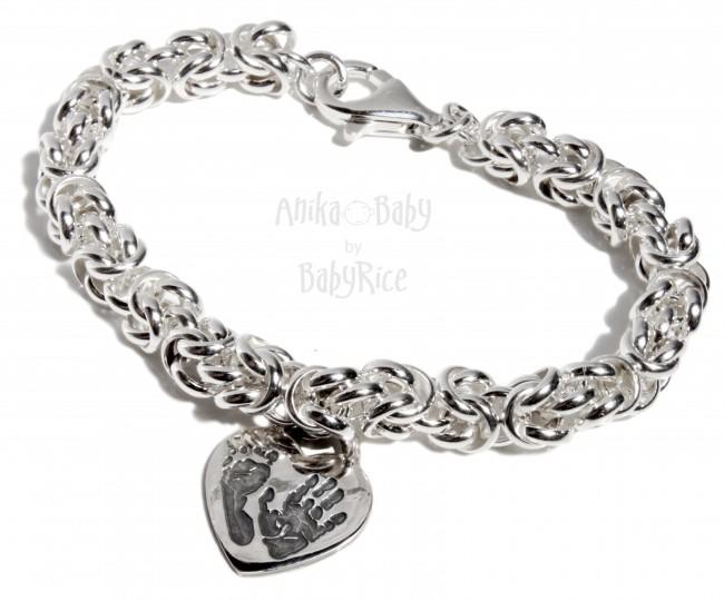 Sterling Silver Chunky Byzantine Bracelet with Handprint Footprint Heart Charm
