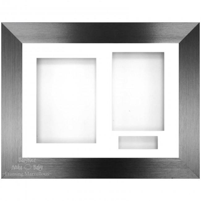 Brushed Pewter 3D Display Box Frame White