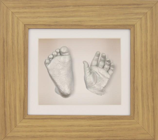 "Baby Casting Kit 6x5"" Oak effect Frame Silver paint"