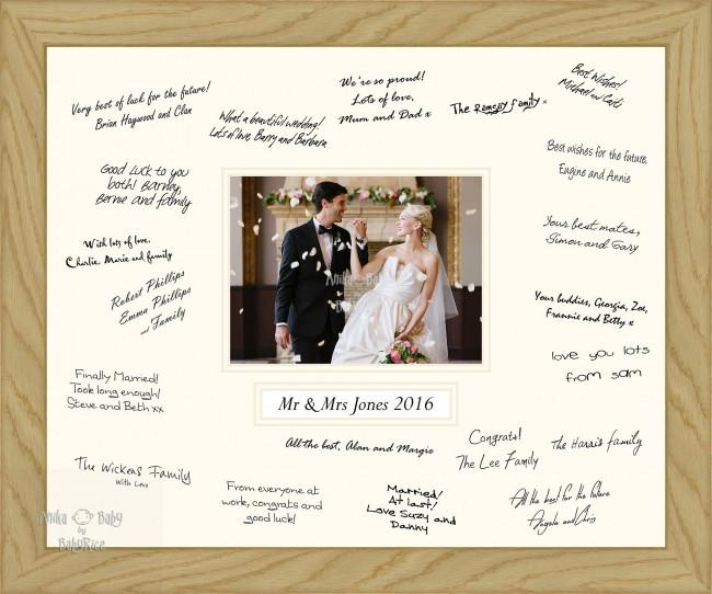 Large 50x40cm Wedding Guest Signature Frame Wooden Solid Oak – Choose Layout