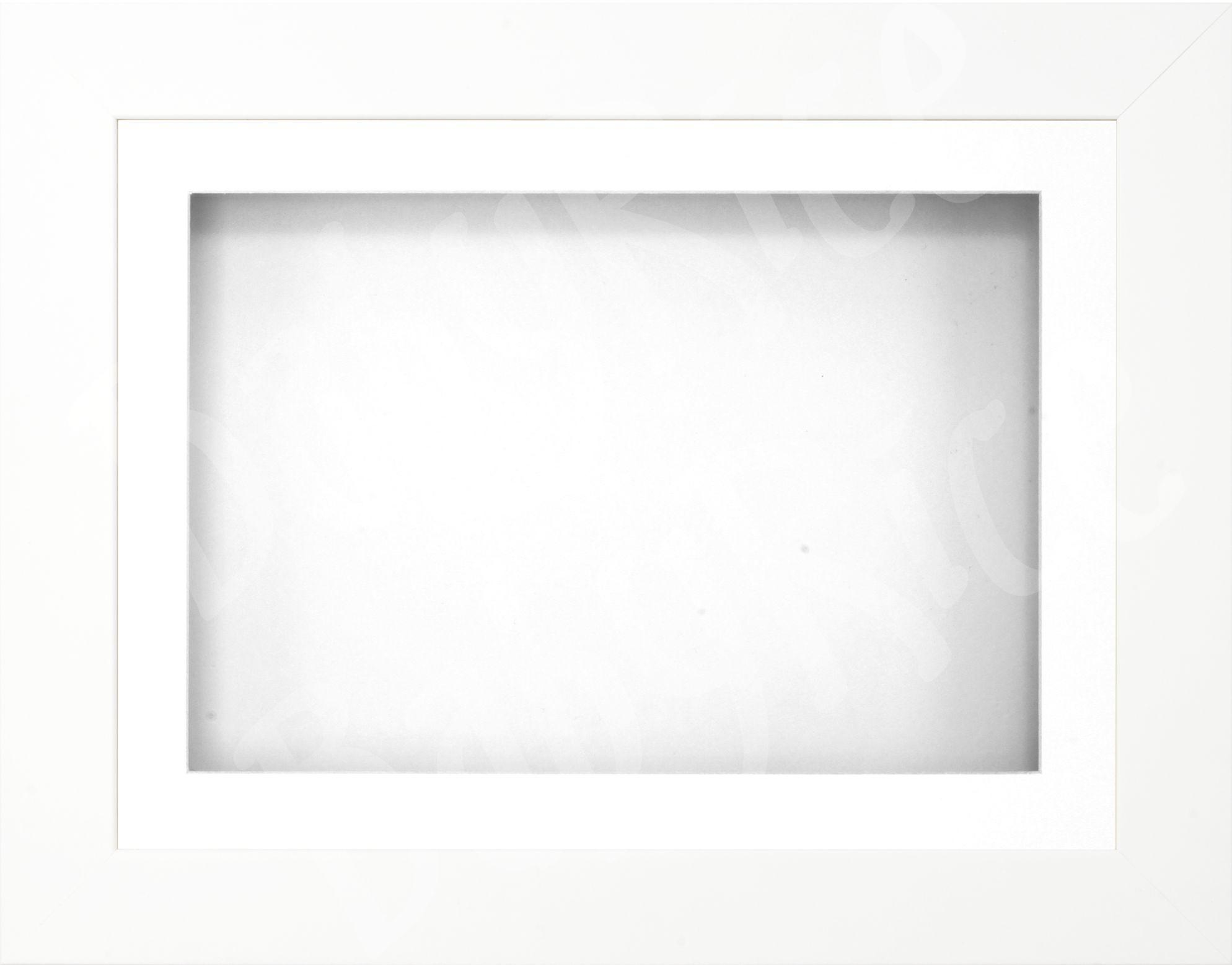 "11.5x8.5"" White 3D Display Frame 1 Hole White Mount White Back"