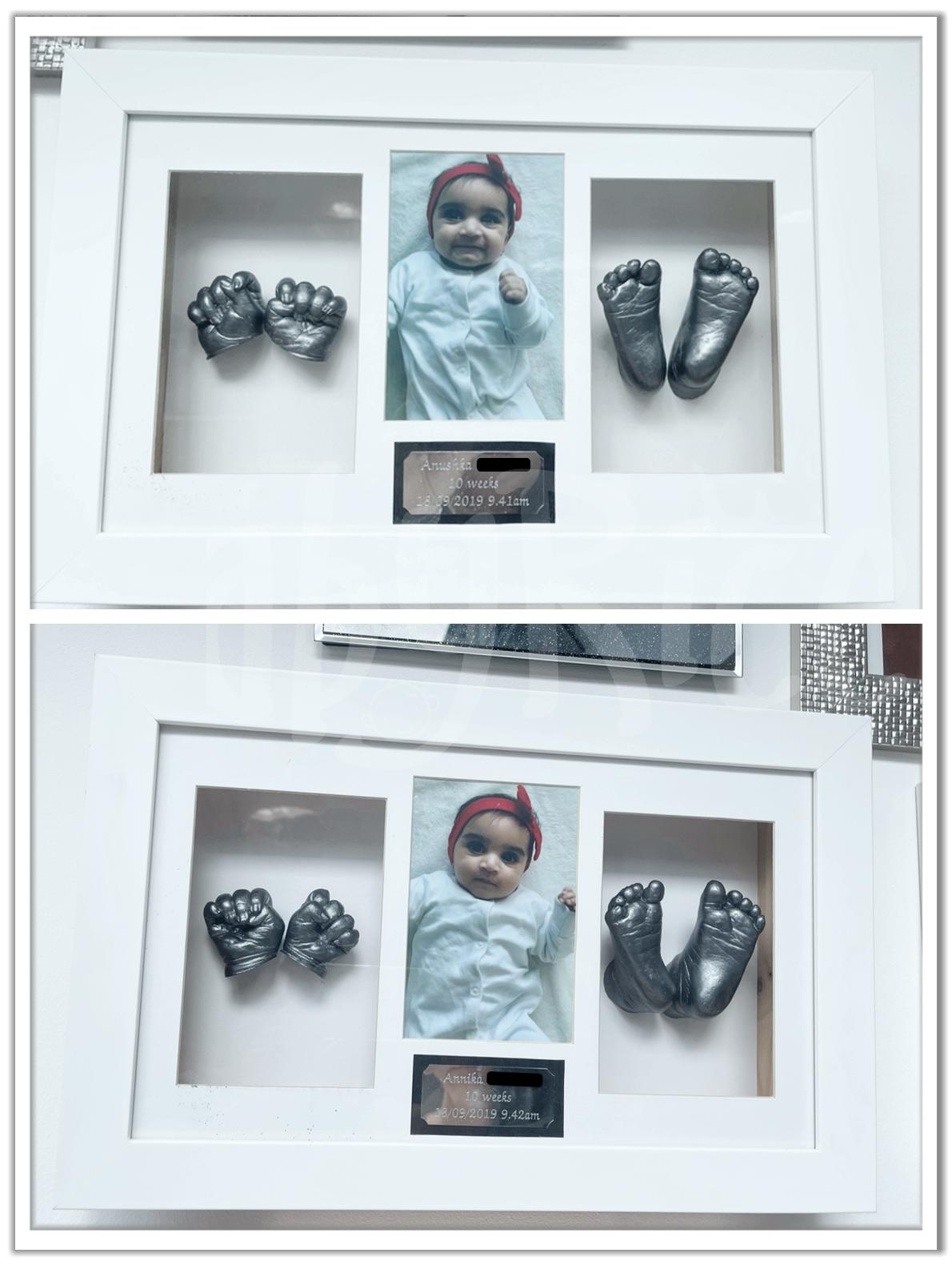 Twins Baby Hand Foot Casting with White Frame