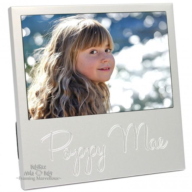 New Personalised Engraved Name Silver Photo Frame