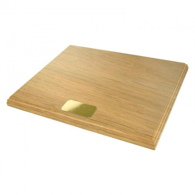 "Oak Wooden Display Plinth 9.5x7.5"" & Blank Gold Plaque"