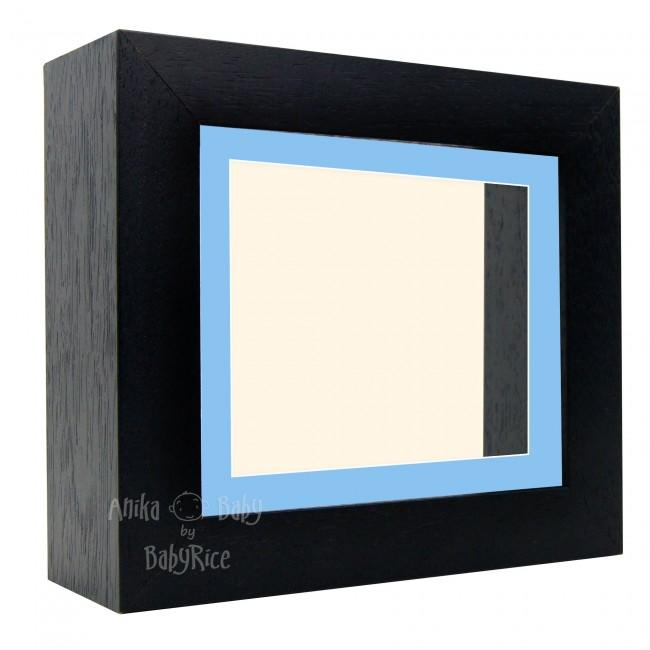 "Deluxe Black Deep Box Frame 6x5"" with Blue Mount and Cream Backing"