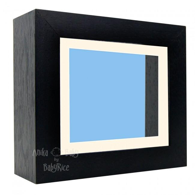 "Deluxe Black Deep Box Frame 6x5"" with Cream Mount and Blue Backing"