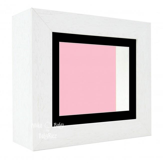 "Deluxe White Deep Box Frame 6x5"" with Black Mount and Pink Backing"