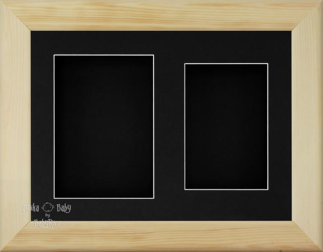 "11.5x8.5"" Natural Pine Wood 3D Display Frame 2 Hole Black Mount Black Back"