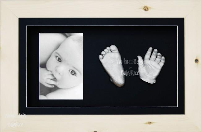 3D Baby Silver Casting Kit Gift Set, Natural Pine Photo display Frame