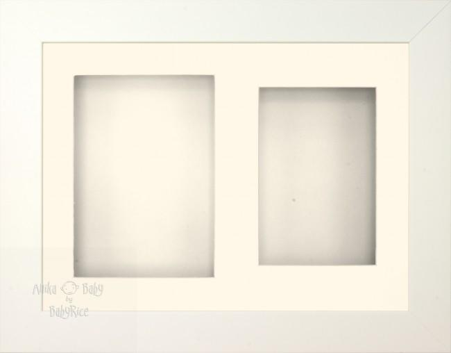 "11.5x8.5"" White 3D Display Frame 2 Hole Cream Mount Cream Back"