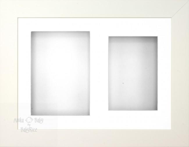 "11.5x8.5"" White 3D Display Frame 2 Hole White Mount White Back"