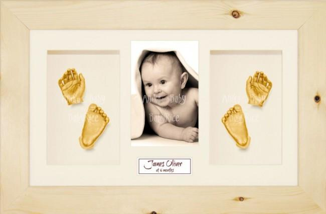 3D Baby Casting Kit Gift Set, Natural Pine Photo display Frame, Gold