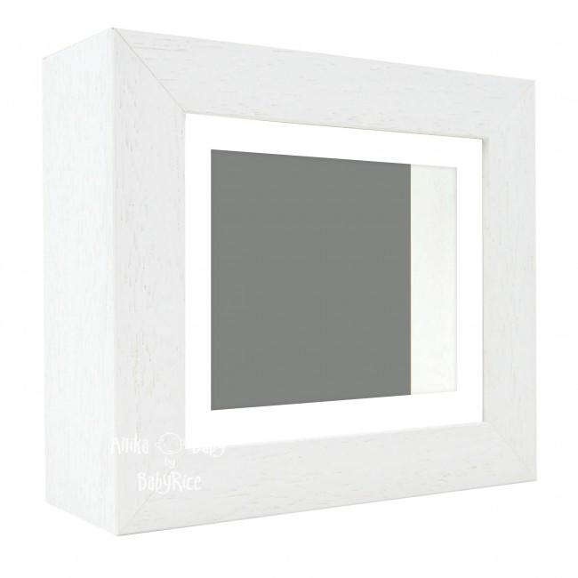 "Deluxe White Deep Box Frame 6x5"" with White Mount and Grey Backing"