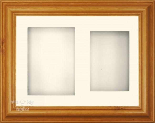 "11.5x8.5"" Honey Pine 3D Display Frame 2 Hole Cream Mount Cream Back"