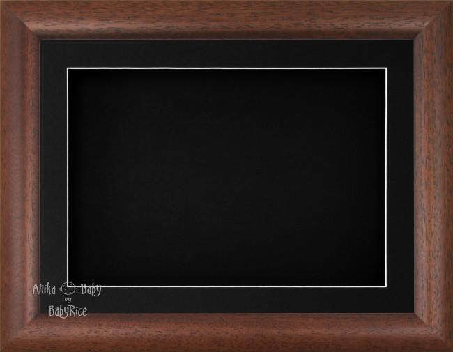 "11.5x8.5"" Dark Wood Effect 3D Display Frame 1 Hole Black Mount Black Back"