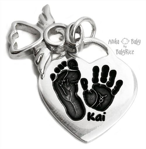 Solid Sterling Silver Heart Pendant with Angel Charm