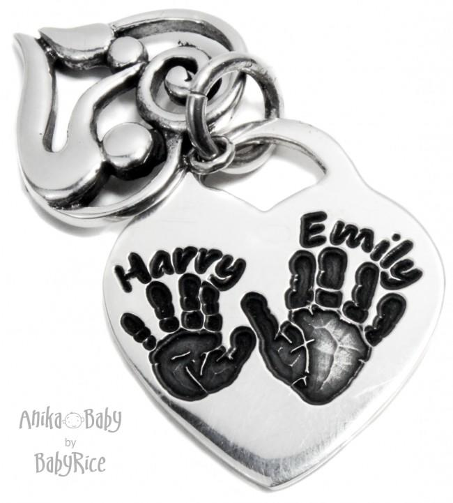 Mother & Baby Handprint Footprint Silver Heart Pendant Oxi
