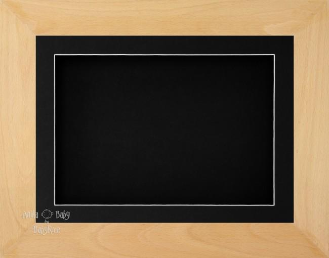 "11.5x8.5"" Real Beech Wood 3D Display Frame 1 Hole Black Mount Black Back"