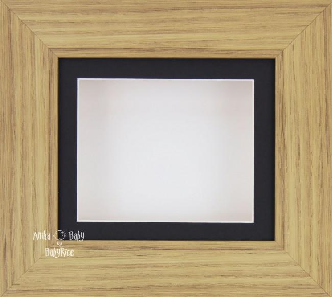 Oak effect Small Display Frame / Black mount & White backing card
