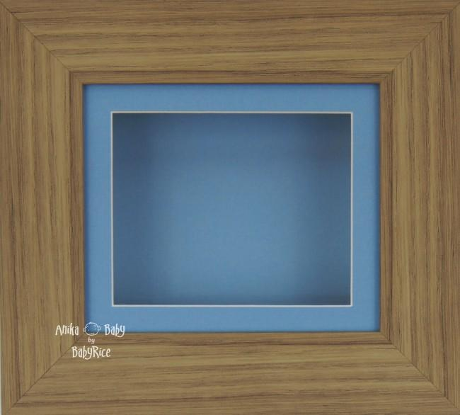 Oak effect Small Display Frame / Blue mount & backing card