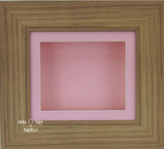 Oak effect Small Display Frame / Pink mount & backing card