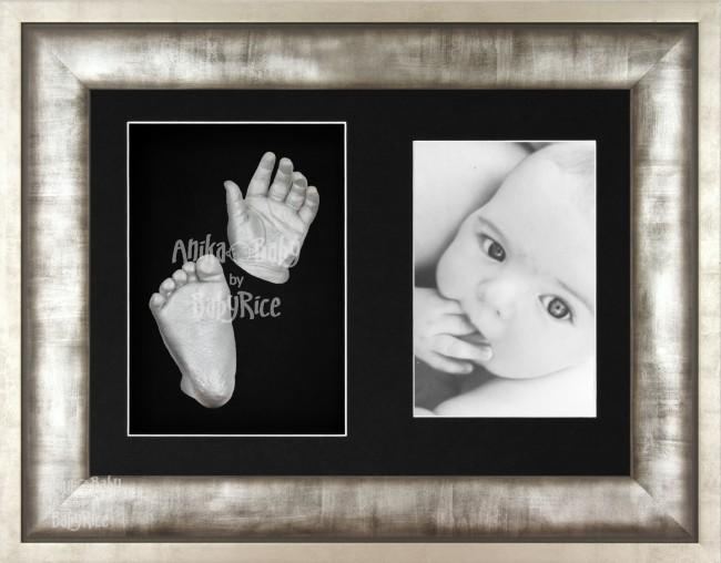 3D Baby Casting Kit, Urban Metal effect Silver Pewter Grey Frame