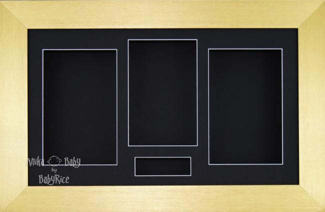 Large Brushed Gold 3D Box Display Frame / Black