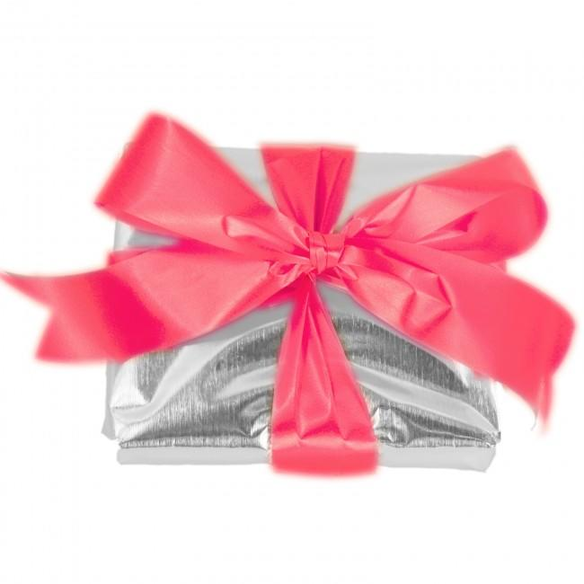 Gift Wrap in Silver with Red Ribbon
