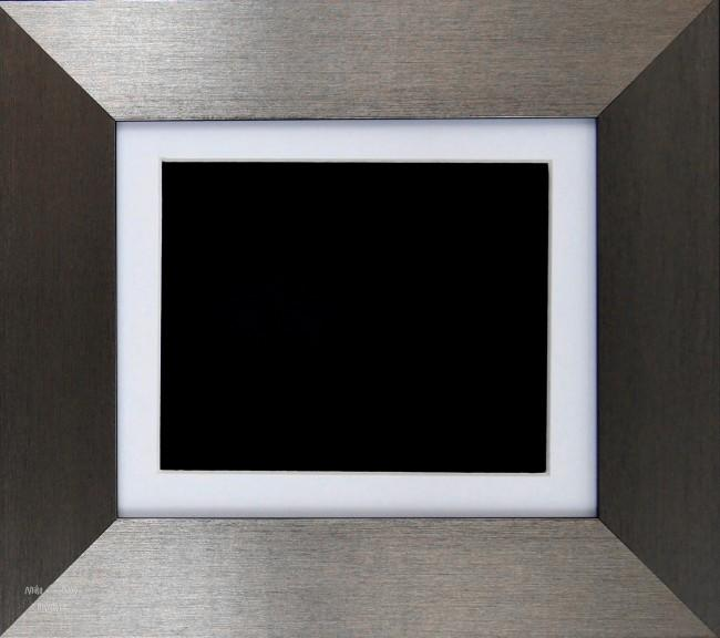 Brushed Pewter Shadow Box Display Frame / White & Black