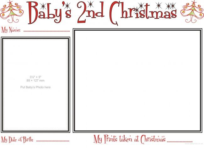 Template of Babys second Christmas Prints Kit