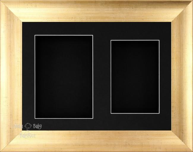 "11.5x8.5"" Antique Gold 3D Display Frame 2 Hole Black Mount Black Back"