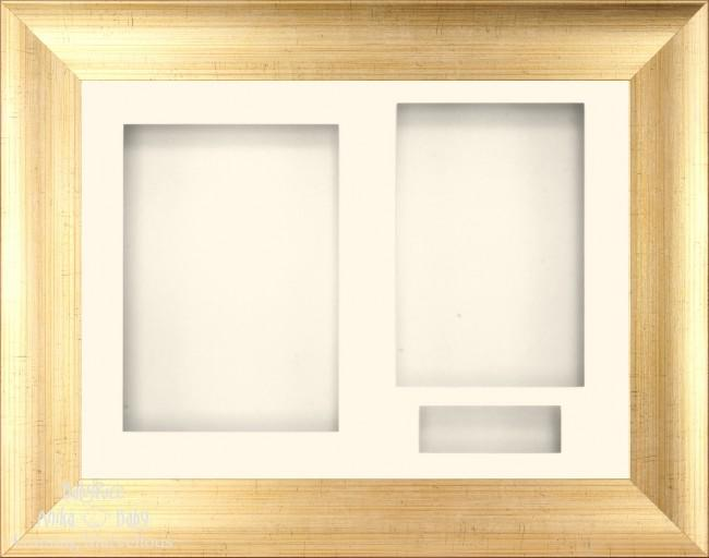 "11.5x8.5"" Antique Gold 3D Display Frame 3 Hole Cream Mount Cream Back"